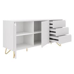 Sideboard PATET 150cm | mit 2 Türen und 3 Schubladen | weiß matt