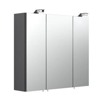 Badezimmer Spiegelschrank 3-türig Salona 70cm   mit LED-Beleuchtung anthrazit