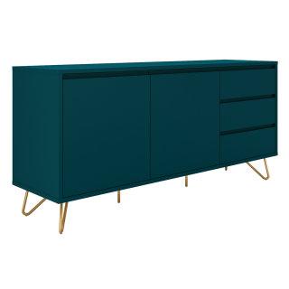Sideboard PATET 150cm | mit 2 Türen und 3 Schubladen | petrolblau matt