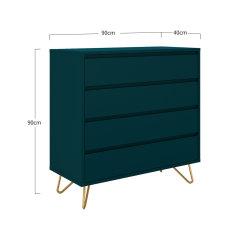 Kommode PATET 90cm breit | mit 4 Schubladen | petrolblau matt
