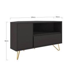 Eck TV-Lowboard PATET 100cm   mit Schublade, Klappfach und offenem Fach   grau matt
