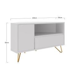 Eck TV-Lowboard PATET 100cm   mit Schublade, Klappfach und offenem Fach   weiß matt