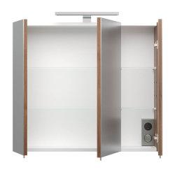 Badmöbel Salona Badset 4-teilig   Glasboden-LED & Waschplatz 70cm mit Schubfach walnuss-weiß