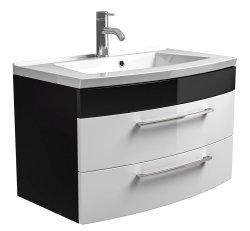Rima Sparset 3-teilig | Waschplatz 82cm + Spiegelschrank | anthrazit-weiß