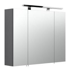 Badmöbel Rima Badset 3-teilig | Waschplatz 80cm + Spiegelschrank | anthrazit-weiß
