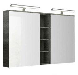 Badmöbel Badset VIDERE 4-teilig   Doppelwaschplatz & Spiegelschrank 120cm   grau-eiche