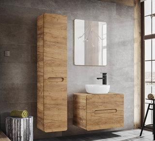 ARUBA 3-teilige Badkombination 60cm | inklusive Aufsatz-Waschbecken & Spiegel | Goldeiche
