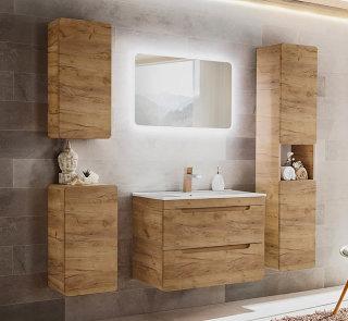 ARUBA 5-teilige Badkombination 80cm | Waschplatz, LED-Spiegel & Hängeschränke | Goldeiche
