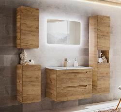 ARUBA 6-teilige Badkombination 80cm   inkl. LED-Spiegel und Aufsatz-Waschbecken   Goldeiche