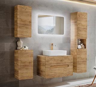 ARUBA 5-teilige Badkombination 80cm | inkl. LED-Spiegel und Aufsatz-Waschbecken | Goldeiche