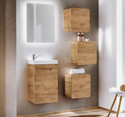 Waschplatz ARUBA mit 1 Türe & Waschbecken   40cm Breite   Goldeiche (Craft Oak)