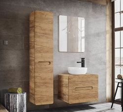 Badezimmer Hochschrank Aruba mit Wäschekorb | Goldeiche (CraftOak)