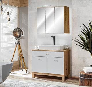 Badmöbel Badset Somoza 2-teilig | 90cm Stand-Waschplatz & LED-Spiegelschrank | eiche-weiß