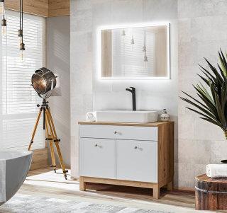 Badmöbel Badset Somoza 2-teilig   90cm Stand-Waschplatz & LED-Wandspiegel   eiche-weiß