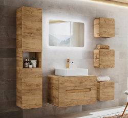 ARUBA 3-teilige Badkombination 80cm | Waschplatz, LED-Spiegel & Hochschrank | Goldeiche