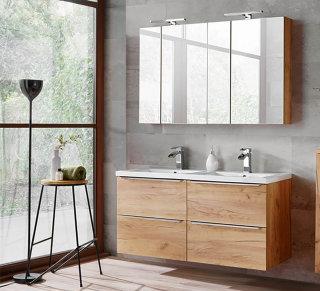 Badezimmer SET CAPRI 120cm 2-tlg.  | Waschtisch & LED-Spiegelschrank | goldeiche