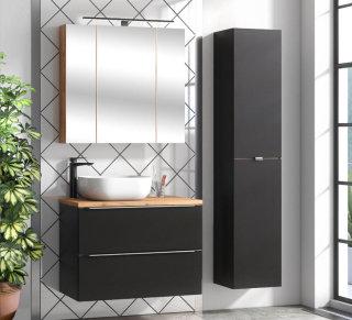 Badezimmer SET CAPRI 80cm 3-tlg.  | Waschtisch, Hoch & Spiegelschrank | schwarz-goldeiche