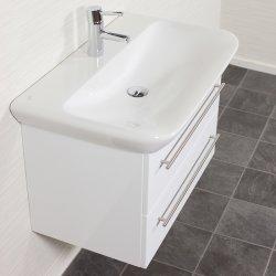 Waschplatz MyDay 80cm mit Geberit Waschbecken | weiß-hochglanz