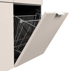 Schuhschrank FAVIER M 105cm | mit 2 Klappen & 2 Schubladen | grau-creme
