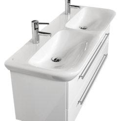 Doppel-Waschplatz MyDay 130cm mit Geberit Waschbecken | weiß-hochglanz