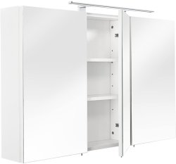 Badezimmer Maxi Spiegelschrank 110cm 3-türig | weiß mit LED-Beleuchtung