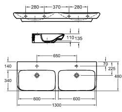 Doppel-Waschplatz MyDay 130cm mit Geberit Waschbecken | anthrazit seidenglanz