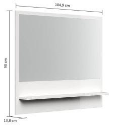 Flurspiegel FAVIER L 105cm | mit Rahmen und Ablage | grau-creme