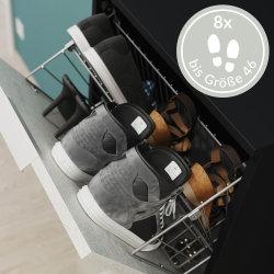 Schuhschrank TRIBUS 53cm Rundknöpfe | mit 2 Klappen = 8 Paar Schuhe | weiß-hochglanz