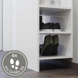 Garderoben-Set FAVIER 3-teilig | Push-Konsole, Garderobe + Spiegel | grau-creme