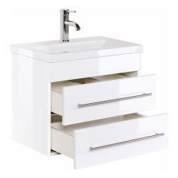 Badmöbel Set Carpo 60cm Waschplatz mit LED Spiegel weiß hochglanz