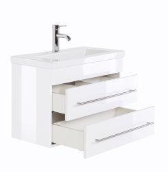 Badmöbel Set Carpo 70cm Waschplatz mit LED Spiegel weiß hochglanz