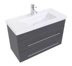 Badmöbel Set Carpo 80cm | Waschplatz mit LED Spiegel | anthrazit seidenglanz