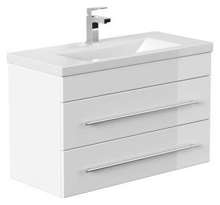 Badmöbel Waschplatz 80cm Breite   Portus 800 SlimLine weiß hochglanz