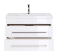Badmöbel Waschplatz 80cm Breite | Portus 800 SlimLine weiß hochglanz
