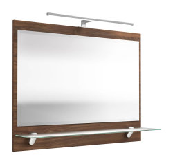 Badezimmer Spiegel 90 x 68cm mit LED-Beleuchtung walnuss