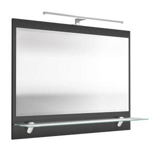 Badezimmer Spiegel 90 x 68cm mit LED-Beleuchtung anthrazit