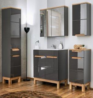 Badmöbel Badset Kalli 5-teilig 60cm | Stand-Waschplatz, Spiegelschrank usw. | dunkelgrau-eiche