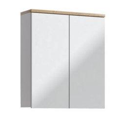 Badmöbel Badset Kalli 5-teilig 60cm   Stand-Waschplatz, Spiegelschrank usw.   weiß-eiche