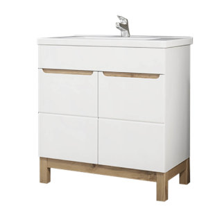Badezimmer Stand-Waschplatz Kalli 80cm | inkl. Waschbecken | weiß hochglanz