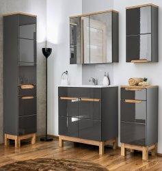 Badezimmer Spiegelschrank Kalli 2-türig 60cm, dunkelgrau wotan-eiche