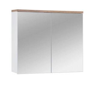 Badezimmer Spiegelschrank Kalli 2-türig 80cm, weiss wotan-eiche