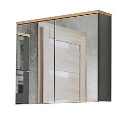 Badmöbel Badset Kalli 3-teilig 80cm   Stand-Waschplatz, Hoch- & Spiegelschrank   dunkelgrau-eiche