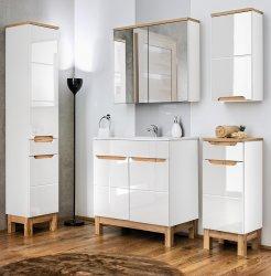 Badmöbel Badset Kalli 3-teilig 80cm | Stand-Waschplatz, Hoch- und Spiegelschrank | weiß-eiche