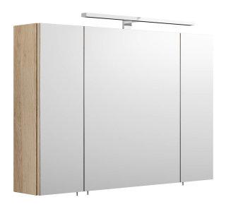 Badezimmer Spiegelschrank 90cm 3-türig | mit LED-Beleuchtung sonoma-eiche