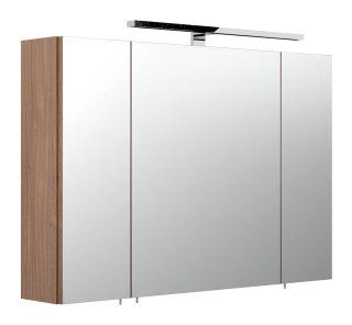 Badezimmer Spiegelschrank 90cm 3-türig | mit LED-Beleuchtung walnuss