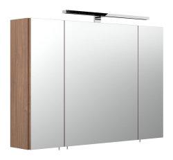 Spiegelschrank 90cm 3-türig | mit LED-Beleuchtung walnuss
