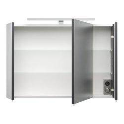 Badezimmer Spiegelschrank 90cm 3-türig | mit LED-Beleuchtung anthrazit