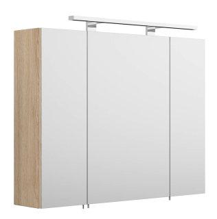 Badezimmer Spiegelschrank 80cm 3-türig | mit LED-Beleuchtung | sonoma-eiche