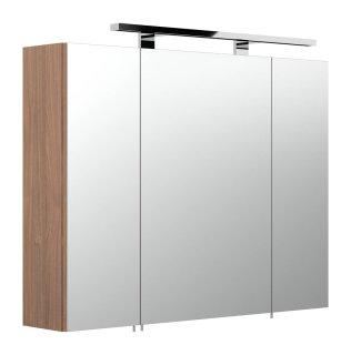 Spiegelschrank 80cm 3-türig | mit LED-Beleuchtung | walnuss