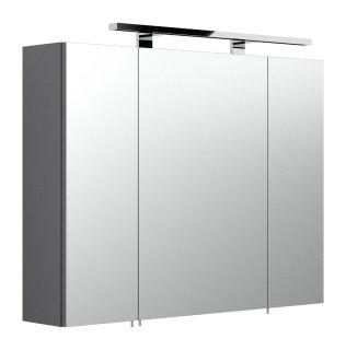 Badezimmer Spiegelschrank 80cm 3-türig | mit LED-Beleuchtung | anthrazit